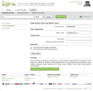 Zakładka danych użytkownika w ustawieniach konta Legimi